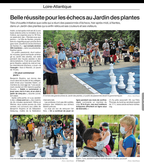 Article ouest france 06 06 2021